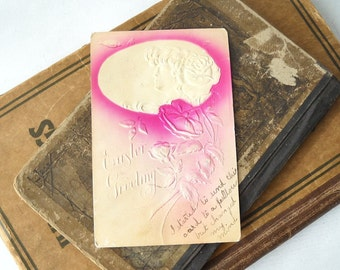 Easter Postcard, Vintage Greeting Card, Embossed Cameo and Flowers, Paper Ephemera