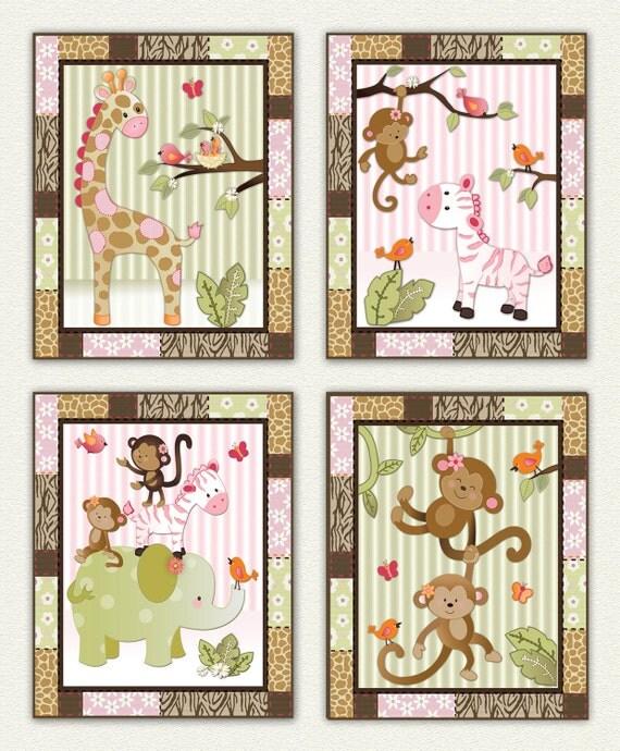 Jungle Jill Wall Decor : Set of four pink jungle animal nursery wall art made to match