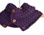 Chunky Purple Cowl, Knitted with Button Closure