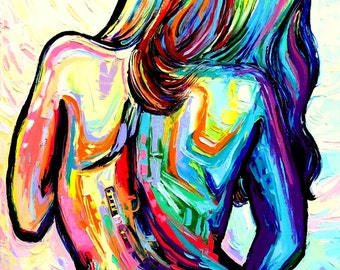 Abstract Nude print colorful art by Aja Blossom - 16x20 inches