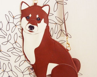 Macky the Shiba Inu Dog Cute Vintage Inspired Brown Vinyl Side Strap Clutch Purse Bag