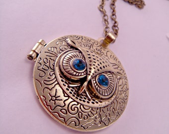 Brass Owl Hooter Locket Pendant Necklace with Blue Jewel Eyes on 26 Inch Brass Chain