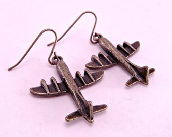 Come Fly With Me Mini Vintage Brass Airplane Plane Earrings Fly Kitsch Geek