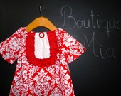 Tuxedo Mini DRESS - Rouge Damask - Pick the size Newborn up to 14 Years - by Boutique Mia
