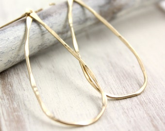 Forged Gold Teardrop Hoop Earrings