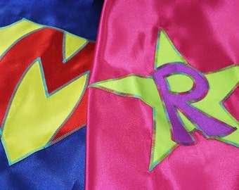 Custom Super Hero Cape: You Choose Colors, Emblem, and Initial! Satin Cape, Embroidered