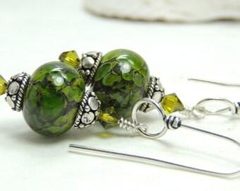 MOSS Handmade Lampwork Dangle Earrings