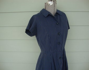 Vintage 1950s Blue Black Checked Day Dress