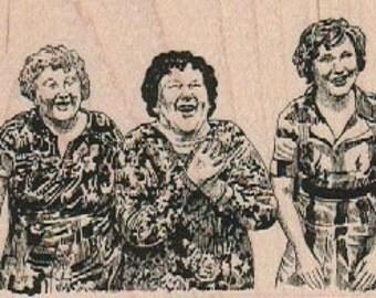 Wood mounted rubber  stamp three ladies laughing   17846