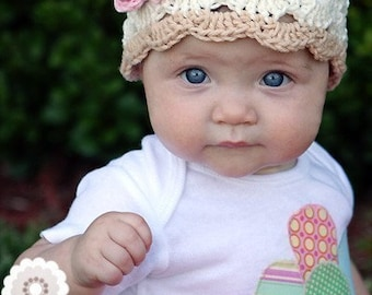 Baby Hat, Baby Girl Crochet Hat, Toddler Crochet Beanie Hat, Eggshell and Pink, Cotton Crochet Hat, MADE TO ORDER