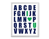 Navy Blue and Kelly Green Baby Boy  Wall Art, Baby Nursery Art -  Alphabet Poster, Abc Print  -  11x14 Kids Letters Picture