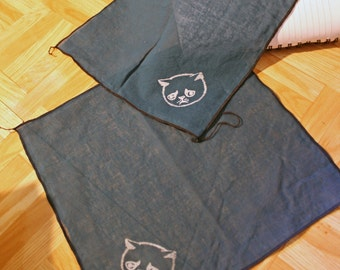 Navy Cotton  hanky handkerchief, hand printed white allergic cat