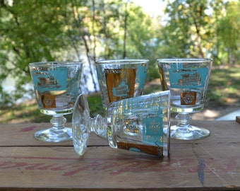 Aqua and Gold Glass Set - Paddle Boat - Steam Boat - Set of 4 - Royal Hill Vintage