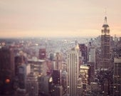 """New York Skyline Photograph, Manhattan Sunset, NYC Photography, Pastel Purple Wall Art, Empire State Building, """"On the Town"""""""