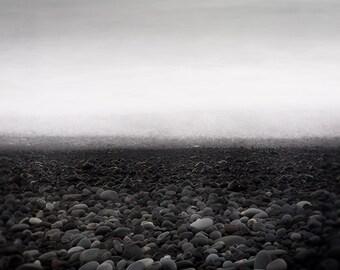 Black Lava - Icelandic Landscape Photography, Ocean Art, Minimalist Art, Wall Art, Black and White Beach, Modern Art Print, 8x8