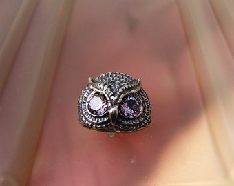 Sterling Silver Owl Ring With Alexandrite Eyes