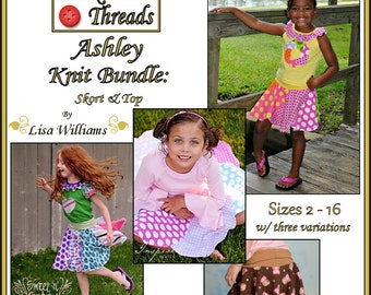INSTANT DOWNLOAD: Ashley Knit Bundle - Skort and Top - diy Tutorial pdf eBook Pattern - Sizes 2 - 16