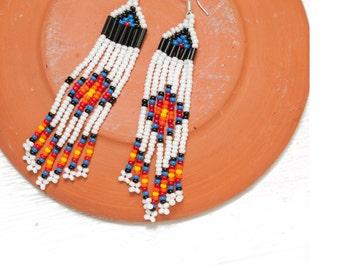 SALE  seed bead earrings - white, black, blue, red, orange, yellow