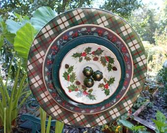 Plate Flower Art-Red, Green, Holly