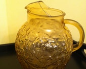 Vintage Glass Pitcher AMBER 60's 70's