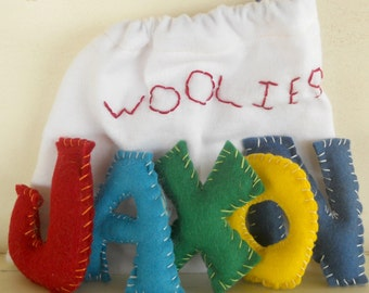 Alphabet Felt Letters, Personalize, All Natural and Eco Friendly, Waldorf Soft Plush Toy Set, Choose Your Letters, Back To School