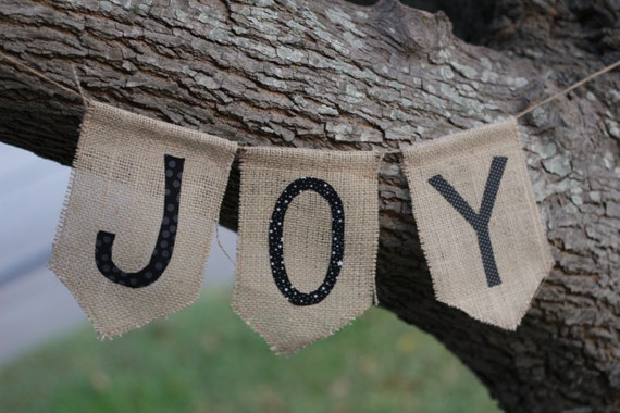 JOY - Burlap Fabric Bunting/Banner/Garland for Christmas or any time