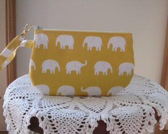 Clutch Wristlet Zipper Gadget Pouch White Elephants on Parade in Yellow