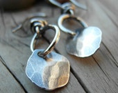 Silver Nugget Earrings Hoops Hammered Nugget Artisan Hand Crafted Jewelry