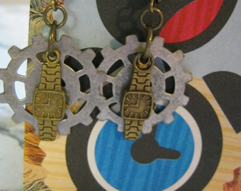 Steampunk Wrist Watch and Clock Gears Earrings
