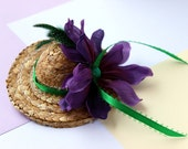 Clearance - Purple and Green Mini Straw Hat Hair Clip