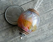 Julie Nordine . Large Hole European Style Handmade Art Glass Bead . Sterling Lined . Copper . Lampwork . SRA