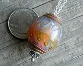 Julie Nordine . Large Hole European Style Handmade Art Glass Bead . Sterling Lined . Copper . Lampwork . SRA