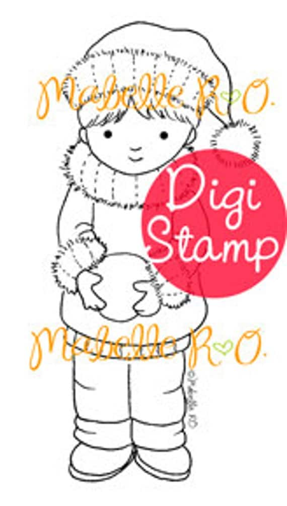 Instant Download Digi Stamp: Snowball Boy