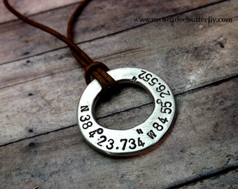 GPS necklace-Mens necklace-personalized necklace-mens washer necklace-rustic necklace-leather cord necklace-pewter