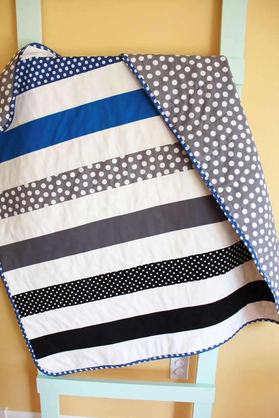 Modern baby quilt by petunias geometric strip stripe blanket - Vintage antique baby room ideas timeless charm appeal ...