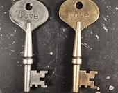 Love Key Word Industrial Vintage Style Jewelry Findings