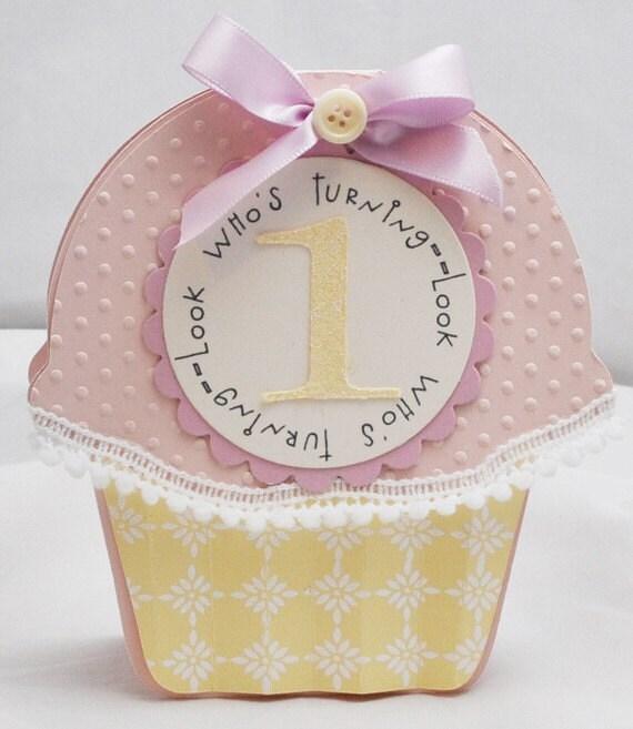 Cupcake Shaped Invitations 1st Birthday Set of 6