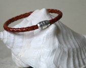 Men's Whiskey Braided Leather Bracelet Antiqued Silver Magnetic Clasp