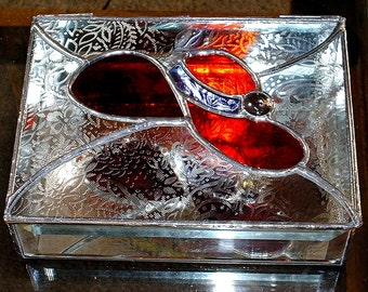 STAINED GLASS Jewelry Box, Red Hat with Assorted Backgrounds