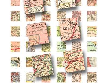 American cities scrabble sheet, .75 x .83, vintage printable digital collage sheet no. 1402