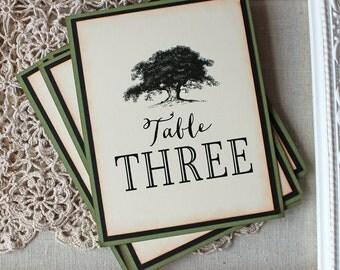 Vintage Oak Tree Table Numbers