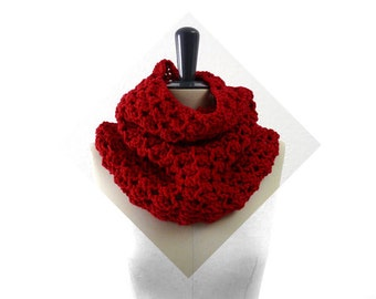 Merino Lace Infinity Scarf / Cowl / Snood. Hand Knit. Rose Red. Romantic Spring / Fall / Winter Fashion. Handmade in France.