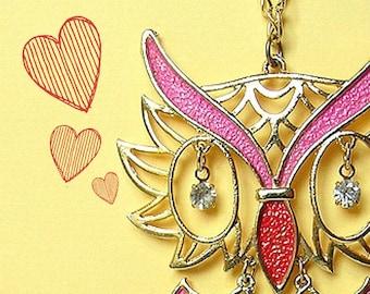 Vintage Owl Necklace - pink retro owl jewelry, woodland bird jewelry, kinetic vintage owl with sparkly rhinestone eyes