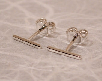 10mm x 1mm Sterling Silver Line Stud Earrings Modern Studs Skinny Bar Jewelry Thin Sterling Earrings by SARANTOS
