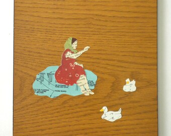 "art - collage ""girl feeding ducks"""