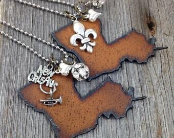 LOUISIANA Necklace, Louisiana Jewelry, Fleur de Lis Necklace Fleur de Lis Jewelry New Orleans Necklace Louisiana Pendant Louisiana Charm
