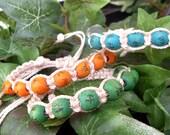 set of 3 white nylon oriental beaded adjustable macrame bracelet
