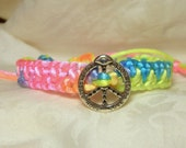 neon bright pastel silk peace sign knotted bracelet