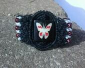wide cuff butterfly hand knotted black hemp bracelet