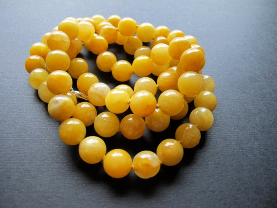 Butter. Long Yellow Calcite Necklace, Hand Knotted Beaded Necklace ...Canary